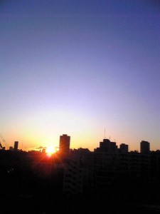 First sunrise of the year in Shinjuku